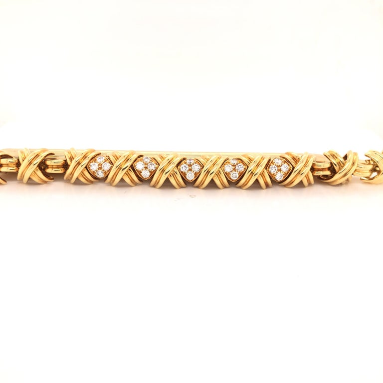 Retro Tiffany & Co. Signature X Diamond 18 Karat Gold Bracelet For Sale