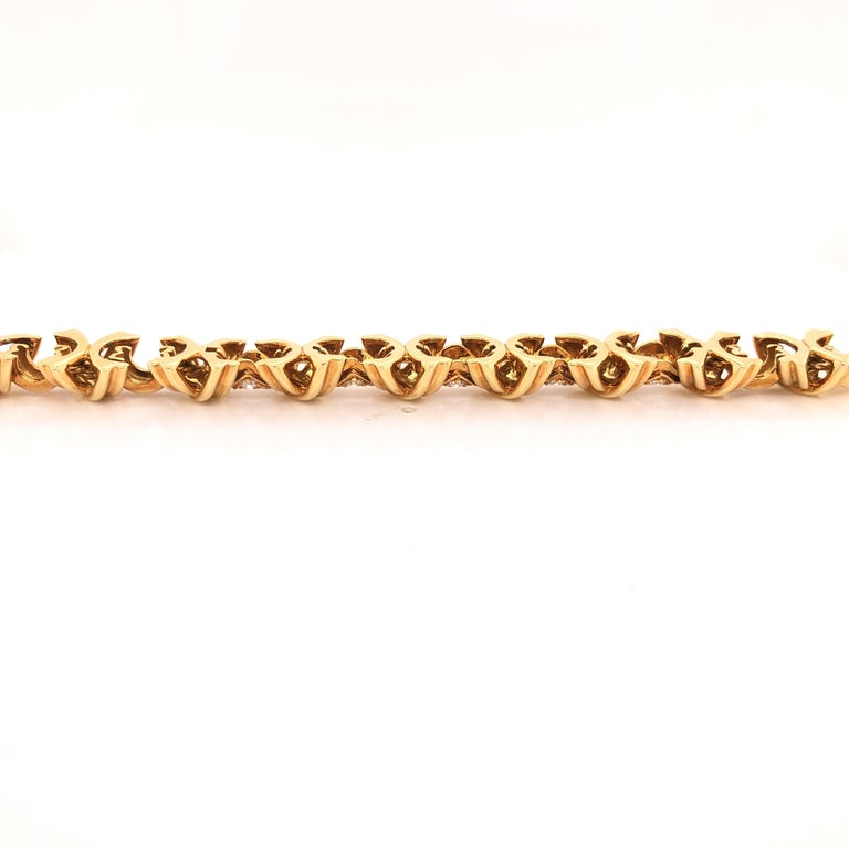 Round Cut Tiffany & Co. Signature X Diamond 18 Karat Gold Bracelet For Sale