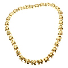 Tiffany & Co. Signature X Link Yellow Gold Necklace
