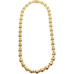 Tiffany & Co. Signature X-Necklace 18 Karat Yellow Gold