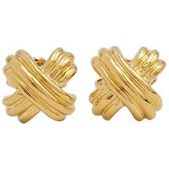 Tiffany & Co. 'Signature X' Yellow Gold Earrings