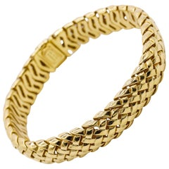 Tiffany & Co. Signed 18 Karat Yellow Gold Woven Design Bracelet