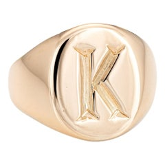 Tiffany & Co. Signet Ring Vintage 14 Karat Yellow Gold Pinky Jewelry Letter K