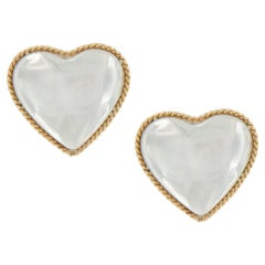Tiffany & Co. Silver and 18 Karat Gold Heart Earrings