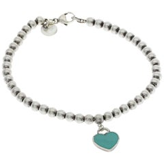 Tiffany & Co. Silver Blue Blue Heart Ball Bracelet
