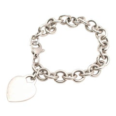 Tiffany & Co Silver Heart Tag Charm Bracelet