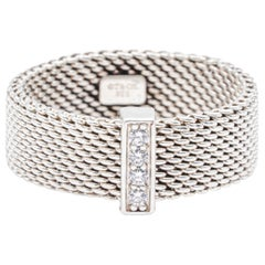 Tiffany & Co. Silver Mesh Somerset Band Ring with 4 Diamonds