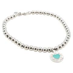Tiffany & Co. Silver Return to Tiffany Blue Enamel Disc Heart Charm Bracelet