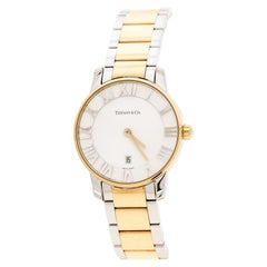 Tiffany & Co. Silver White Yellow Gold Plated Atlas Women's Wristwatch 29 mm
