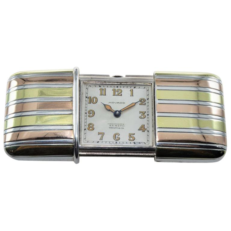 Tiffany & Co. Silver with Multi-Color Gold Inlay Art Deco Ermeto, circa 1920s For Sale