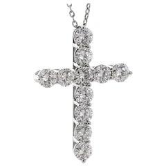 Tiffany & Co. Small Diamond Cross 0.47 Carat Platinum Pendant Necklace