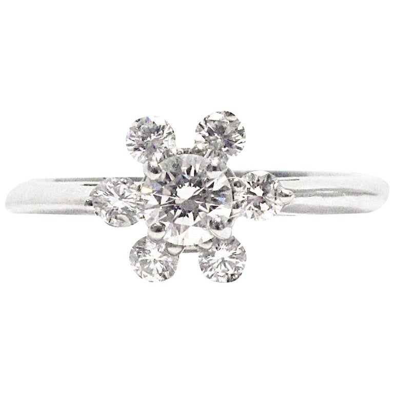 Tiffany And Co Snowflake Diamond Platinum Ring For Sale