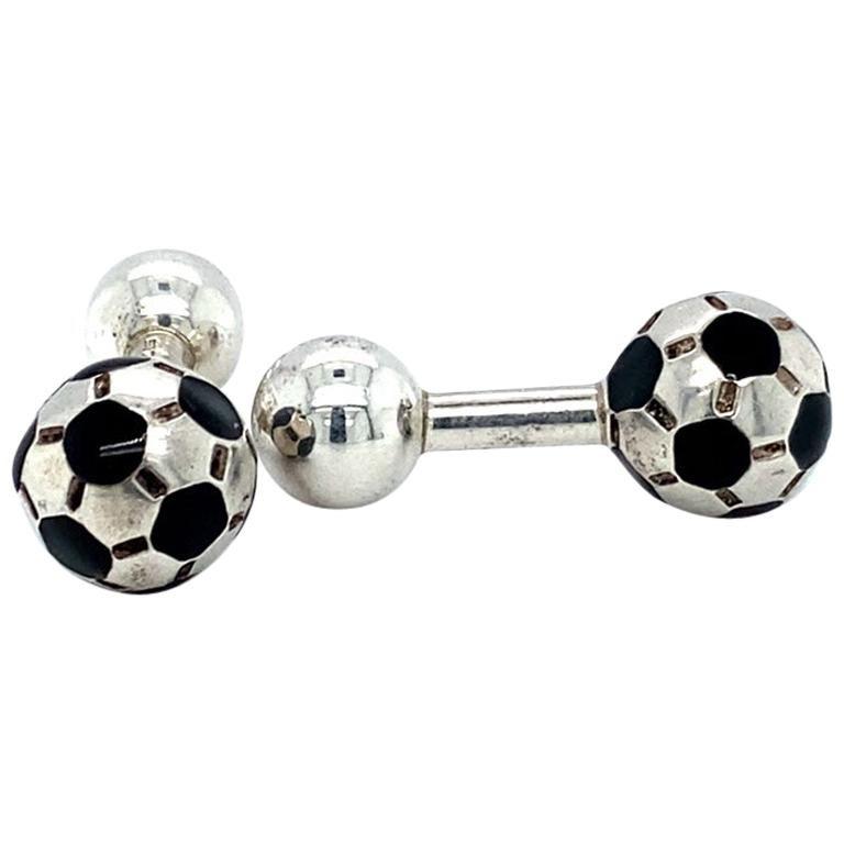 Tiffany & Co. Soccer Ball Cufflinks, Sterling Silver