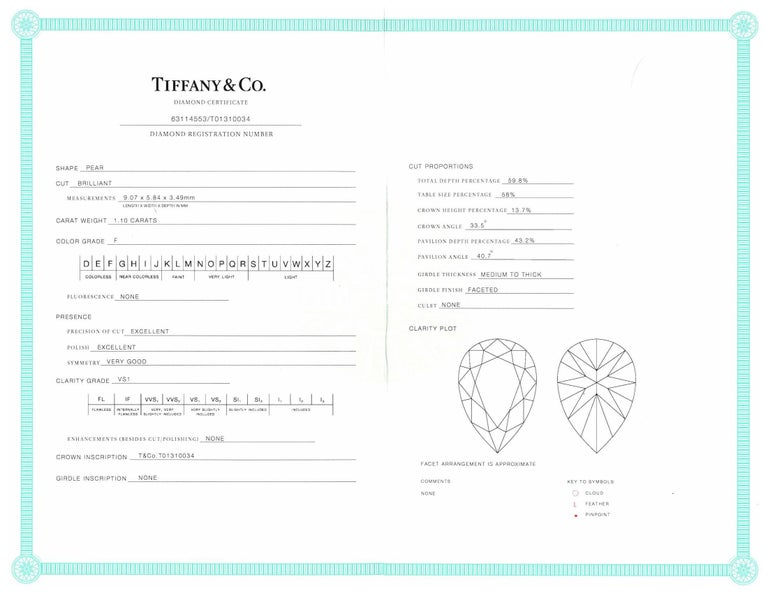 Tiffany & Co. Soleste 1.10 Carat Pear Shape Engagement Ring in Platinum For Sale 2