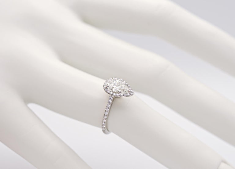 Women's or Men's Tiffany & Co. Soleste 1.10 Carat Pear Shape Engagement Ring in Platinum For Sale
