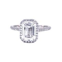 Tiffany & Co. Soleste 2.63ct Emerald-Cut Halo Diamond Platinum Engagement Ring