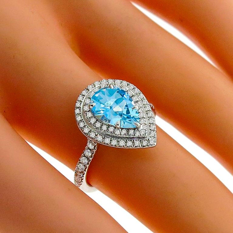 cae74423c Tiffany and Co. Soleste Aquamarine Diamond Platinum Ring For Sale at 1stdibs