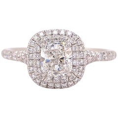 Tiffany & Co Soleste Cushion 1.10 Carat Diamond Double Halo Ring Plat