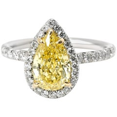 Tiffany & Co. Soleste Diamond Fancy Vivid Yellow Pear Engagement Ring