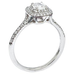 Tiffany & Co. Soleste  Diamond Solitaire Platinum Halo Engagement Ring Size 55