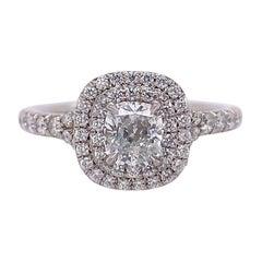Tiffany & Co. Soleste Double-Row Cushion Diamond 0.76 Carat Engagement Ring Plat