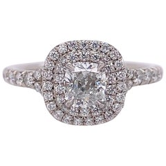 Tiffany & Co. Soleste Double-Row Cushion Diamond 0.76 Carat Engagement Ring Plat