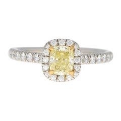 Tiffany & Co 'Soleste' Fancy Yellow Diamond Engagement Ring in Platinum and Gold