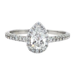 Tiffany & Co. Soleste Pear Diamond Halo Engagement Ring Platinum GIA Certified