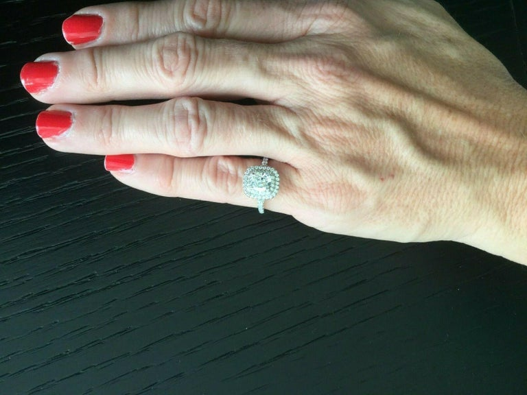 84d45ed09 Cushion Cut Tiffany & Co Soleste Platinum and Diamond 1.28 Carat H Internal  Flawless For Sale