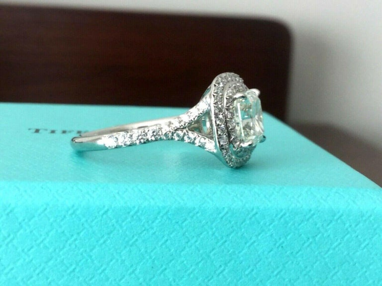 504d4100b Women's or Men's Tiffany & Co Soleste Platinum and Diamond 1.28 Carat H  Internal Flawless For