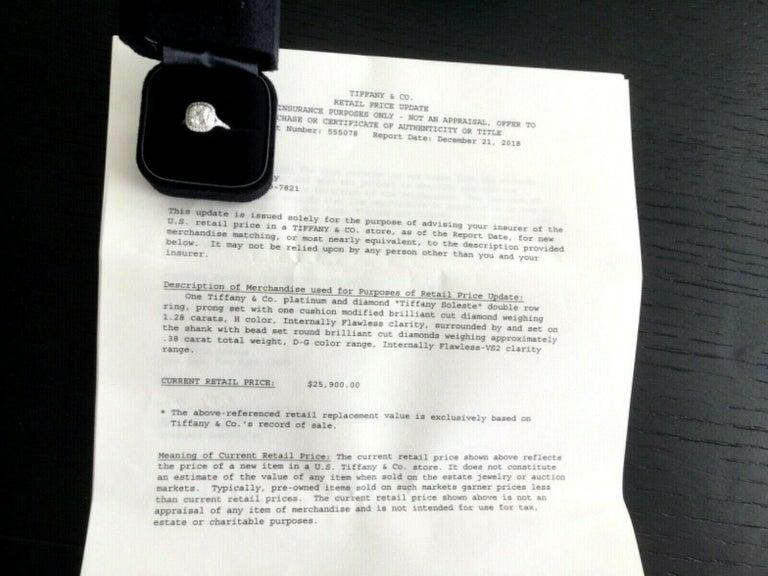 5b4450103 Tiffany & Co Soleste Platinum and Diamond 1.28 Carat H Internal Flawless For  Sale 1