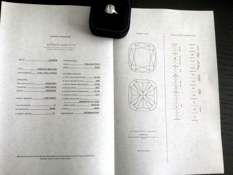 967fdd9dc Tiffany & Co Soleste Platinum and Diamond 1.28 Carat H Internal Flawless For  Sale 2