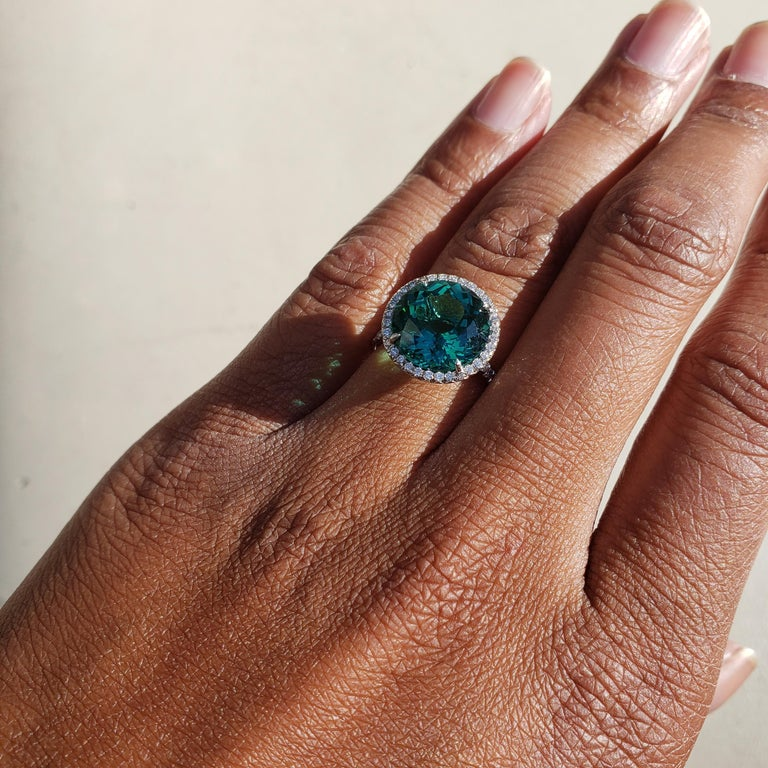 Tiffany & Co. 'Soleste' Platinum Blue-Green Tourmaline and Diamond Ring 5