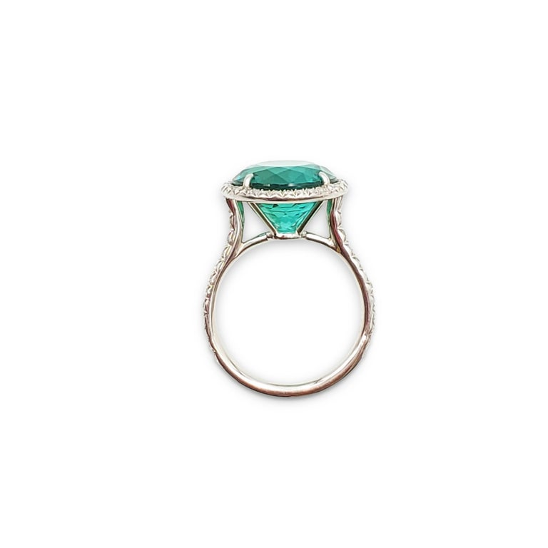Tiffany & Co. 'Soleste' Platinum Blue-Green Tourmaline and Diamond Ring In Excellent Condition In New York, NY