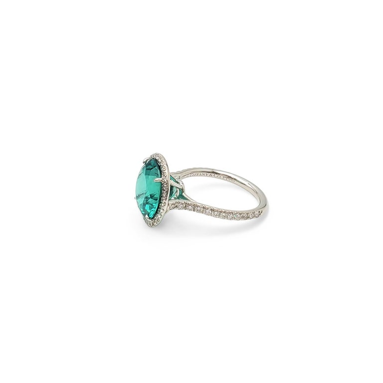 Women's Tiffany & Co. 'Soleste' Platinum Blue-Green Tourmaline and Diamond Ring
