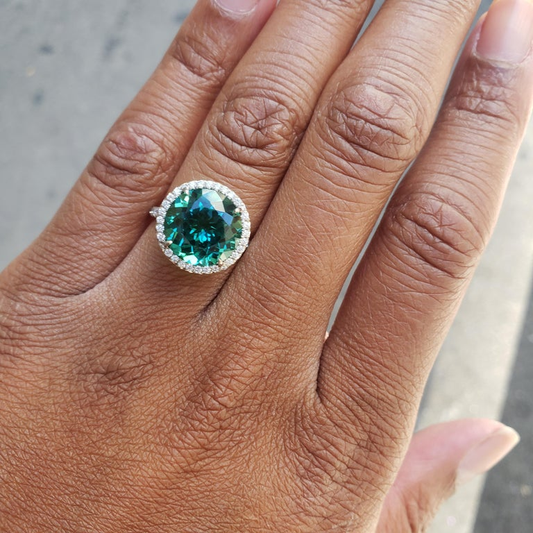 Tiffany & Co. 'Soleste' Platinum Blue-Green Tourmaline and Diamond Ring 4
