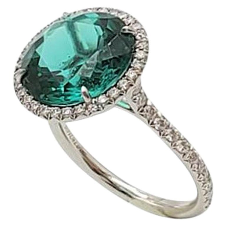 Tiffany & Co. 'Soleste' Platinum Blue-Green Tourmaline and Diamond Ring