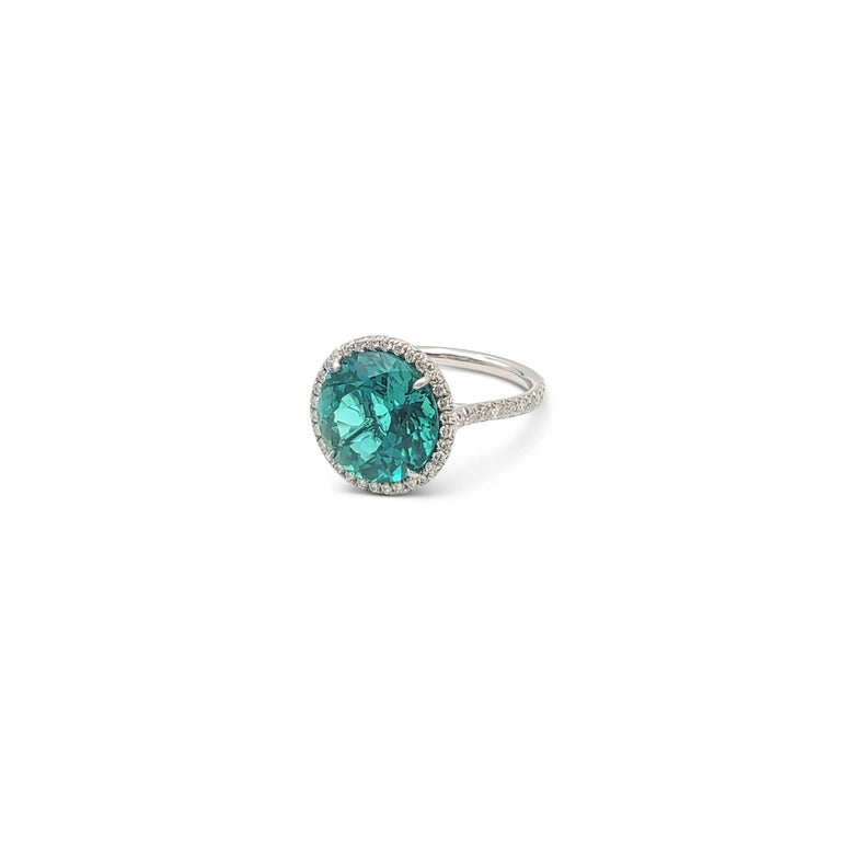 Round Cut Tiffany & Co. 'Soleste' Platinum Green Tourmaline and Diamond Ring For Sale