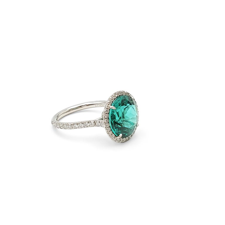 Tiffany & Co. 'Soleste' Platinum Green Tourmaline and Diamond Ring For Sale 1
