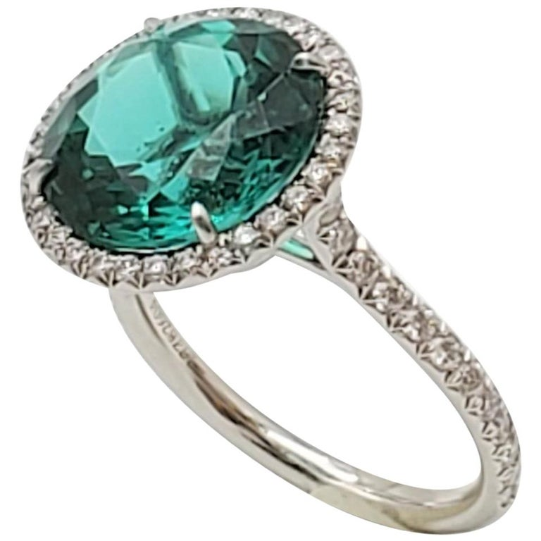 Tiffany & Co. 'Soleste' Platinum Green Tourmaline and Diamond Ring For Sale
