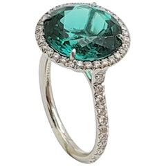 Tiffany & Co. 'Soleste' Platinum Green Tourmaline and Diamond Ring