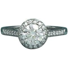 Tiffany & Co. Soleste Platin Runder Diamant Verlobungsring 1,11 Carat G VVS1