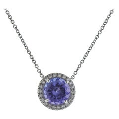 Tiffany & Co Soleste Platinum Tanzanite Pendant Necklace