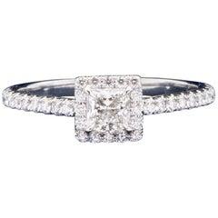 "Tiffany & Co. ""Soleste"" Princess Cut 0.61 Carat Total Weight FVVS2 Ring"