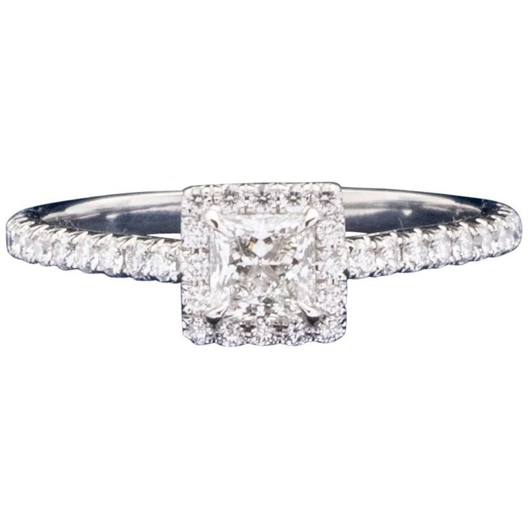"""Tiffany & Co. """"Soleste"""" Princess Cut 0.61 Carat Total Weight FVVS2 Ring For Sale"""
