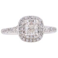 Tiffany & Co. Soleste Round Diamond 0.64 Carat Ring in Platinum Papers