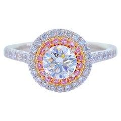 Tiffany & Co Soleste Round Diamond 0.90 Carat Pink Diamonds Double Halo Platinum