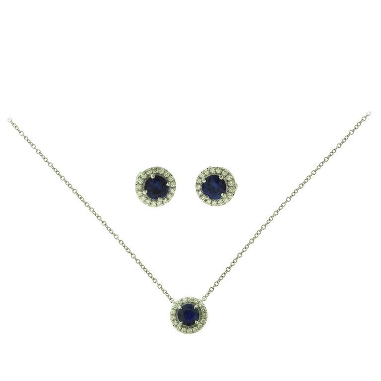 Tiffany & Co. Soleste Sapphire & Diamond Pendant & Earring Platinum 2-Piece Set For Sale