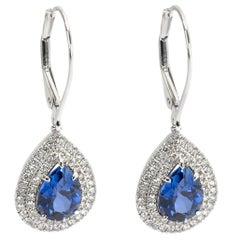 Tiffany & Co. Soleste Tanzanite & Diamond Earrings in Platinum Blue '3.01 Carat'