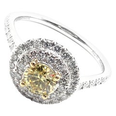Tiffany & Co. Soleste Yellow and White Diamond Platinum White Gold Ring